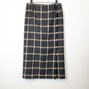 Rafaela Plaid Wool Wrap Maxi Skirt